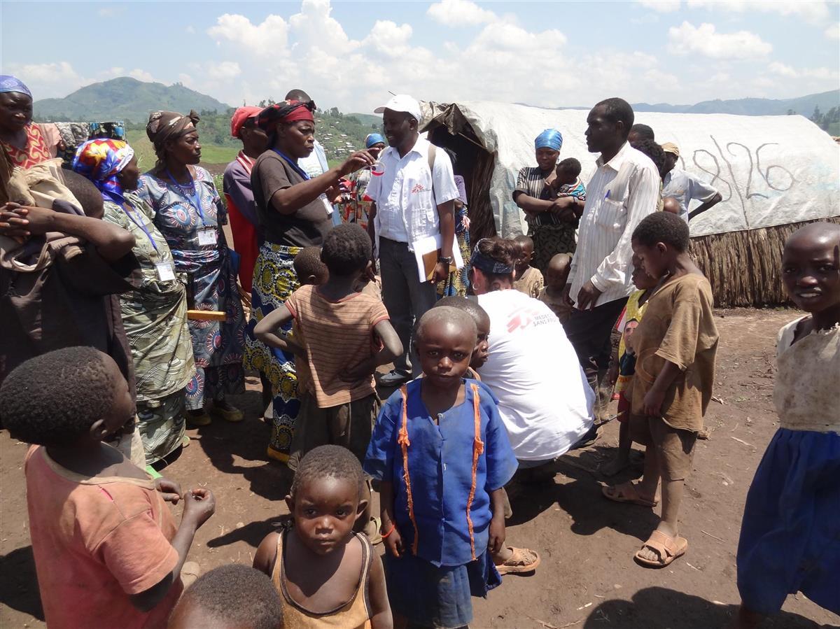 Bezoek aan een vluchtelingenkamp in Mweso, Noord-Kivu