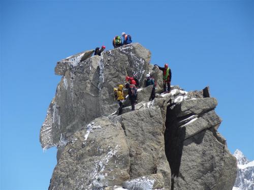Oefening op Aiguille du midi (Chamonix Frankrijk)